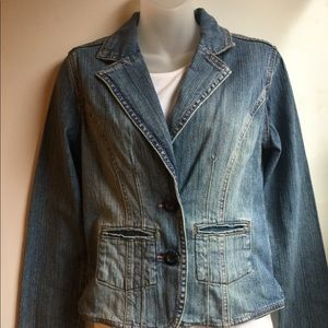 HOT KISS JEAN JACKET WITH PINK THREAD SIZE M